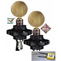 Cascade Microphones Fat Head II Lundahl Ribbon Microphone Pair with Blumlein Bar (Brown/Gold)