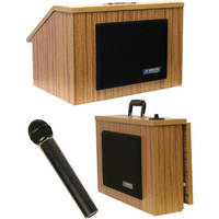AmpliVox Sound Systems SW272 Wireless EZ Speak Lectern with Sound System & S1695 UHF Wireless Handheld Mic (Medium Oak Finish)