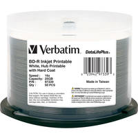 Verbatim BD-R Blu-Ray 25GB 6x White Inkjet Hub Printable Discs (50 Pack Spindle)