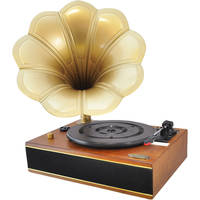 Pyle Pro Classic Horn Phonograph/Turntable with USB (Mahogany)