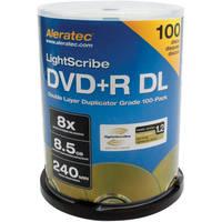 Aleratec DVD+R DL Double Layer 8x LightScribe Duplicator Grade 100-Pack