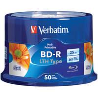Verbatim 25GB 6x LTH Type Blue-ray Printable Discs (50-Pk)