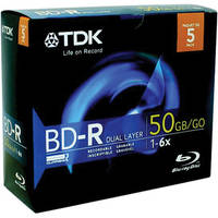 TDK BD-R 6x DL 50 GB Write-Once Blu-Ray Disc with Jewel Case (5 Pk)