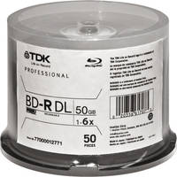 TDK BD-R DL 6x 50GB Write Once (Spindle Pack of 50)