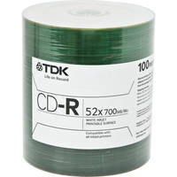 TDK Professional CD-R White Inkjet Printable Surface (Spindle Pack of 100)