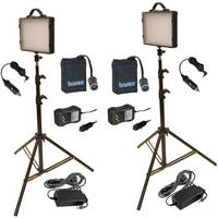 Bescor LED-200KNMH Twin 200W LED Studio Light Kit with Batteries