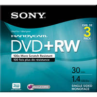 Sony 8 cm DVD+RW (Pack of 3) with Hangtab