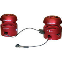Diamond MSP100R Mini Rocker Mobile Portable Speakers for iPhone, iPad, and Smartphone - Red
