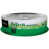 Sony 16X DVD+R Recordable DVD Media Disc (25-Pack / White)