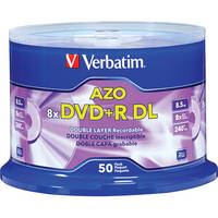 Verbatim DVD+R 8.5 GB Double Layer Recordable Discs (Spindle Pack of 50)