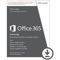 Microsoft Office 365 University (Electronic Download, 2-Licenses PC or Mac)
