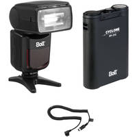 Bolt VX-760C Wireless TTL Flash for Canon Kit with Dual Outlet Power Pack and Cable