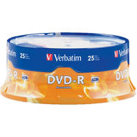 25-Pack Verbatim 95058 4.7GB 16X DVD-R DVD Disc Spindle