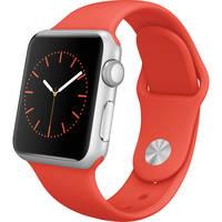 Apple Watch 38mm Silver Aluminum Case Smartwatch with Orange Sport Band (Orange)