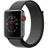 Apple Watch Series 3 42mm Smartwatch (GPS+Cellular, Space Gray Aluminum Case, Dark Olive Sport Loop) + Belkin Sport Band for Apple Watch