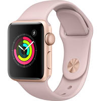 Apple Series 3 (GPS) 38mm Gold Aluminum Case Watch with Pink Sand Sport Band - New Open Box