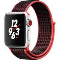 Apple Watch Nike+ Series 3 38mm GPS & Cellular Smartwatch (Silver Aluminum Case, Bright Crimson/Black Nike Sport Loop)