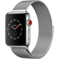 Apple Watch Series 3 42mm GPS + Cellular Smartwatch (Stainless Steel Case, Stainless Steel Milanese Loop) + Screen Protector