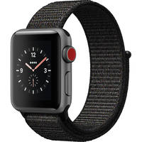 Apple Watch Series 3 38mm GPS + Cellular Space Gray Aluminum Case Smartwatch + AVODA Clear Glass Screen Protector