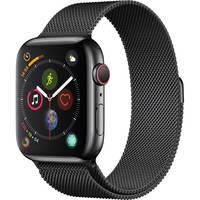 Apple Watch Series 4 (GPS + Cellular, 44mm, Space Black Stainless Steel, Space Black Milanese Loop) + AVODA Bumper for Apple Watch