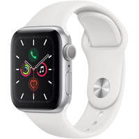 Apple Watch Series 5 40mm GPS Smartwatch with White Sport Band (Silver Aluminum Case) (Latest Model, Late 2019)