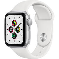 Deals on Apple Watch SE GPS, 40mm, Silver Aluminum, White Sport Band