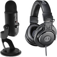 Blue Yeti Blackout Microphones with Assassins Creed Game Code Bundle (Black) + Headphones