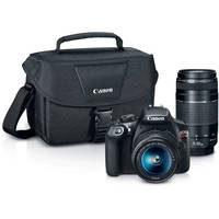 Canon 18MP FHD DSLR Camera w/18-55 & 75-300mm Lens + 100 Cash
