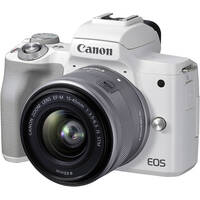 Canon EOS M50 Mark II Mirrorless Digital Camera with EF-M 15-45mm f/3.5-6.3 IS STM Lens (White)