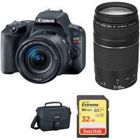Canon EOS Rebel SL2 24.2MP Full HD 1080p Wi-Fi Digital SLR Camera with 18-55 & 75-300mm Lens (Black) + Shoulder Bag + 32GB Memory Card + Canon EF 75-300mm Lens