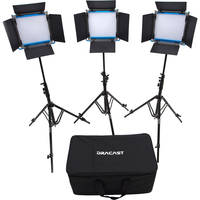 Dracast LED500 S-Series Bi-Color 3-Light Kit with V-Mount Battery Plate and Soft Case + Dracast Barndoors (Silver)