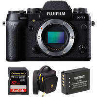 Fujifilm X-T1 16.3MP Full HD 1080p Wi-Fi Mirrorless Digital Camera Body (Black) + SanDisk 16GB SDHC Card + Ruggard Holster Bag + Watson Battery Pack + Sensei Lens Cleaning Cloth