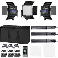 GVM 672S-B Bi-Color LED Video 3-Light Kit (Black)