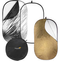 Impact 5-in-1 Collapsible Oval Reflector with Solid Gold (42x72