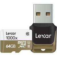 Lexar Professional 64GB UHS-II / U3 1000x MicroSDHC Memory Card with USB 3.0 Card Reader