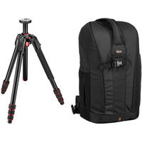 Manfrotto 190go Aluminum Tripod Lowepro + Flipside 300 Backpack (Black)