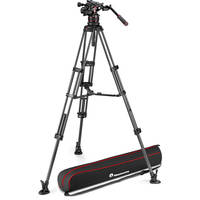 Manfrotto 612 Nitrotech Fluid Video Head and Carbon Fiber Twin Leg Tripod