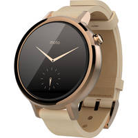 Motorola 2nd Gen Moto 360 Android Leather Wrist Smartwatch (Silver/Cognac) - Refurbished