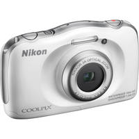 Nikon Coolpix S33 13.2MP Waterproof Digital Camera with 3x Optical Zoom (White) - Factory Refurbished + CPS 1 Year Warranty