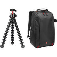 Joby GorillaPod 5K Tripod Kit (Black/Red/Charcoal) + Manfrotto Camera Backpack