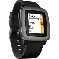 Pebble Time 38mm Polycarbonate Smartwatch (Black Silicone)