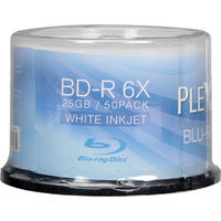 50-Pack PlexDisc 633-214 25GB 6X Inkjet Printable 25GB BD-R Blu-Ray Disc Spindle