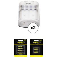 2-Pk Powerex Smart Charger and Precharged AA and AAA Battery Kit
