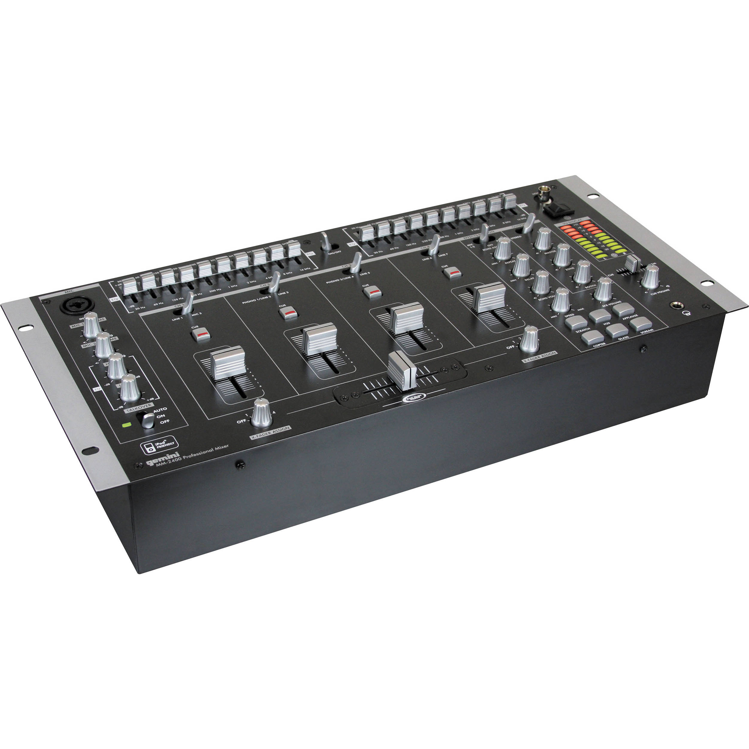 Gemini MM-2400 4-Channel Rack Mounted DJ Mixer with Sound Effects
