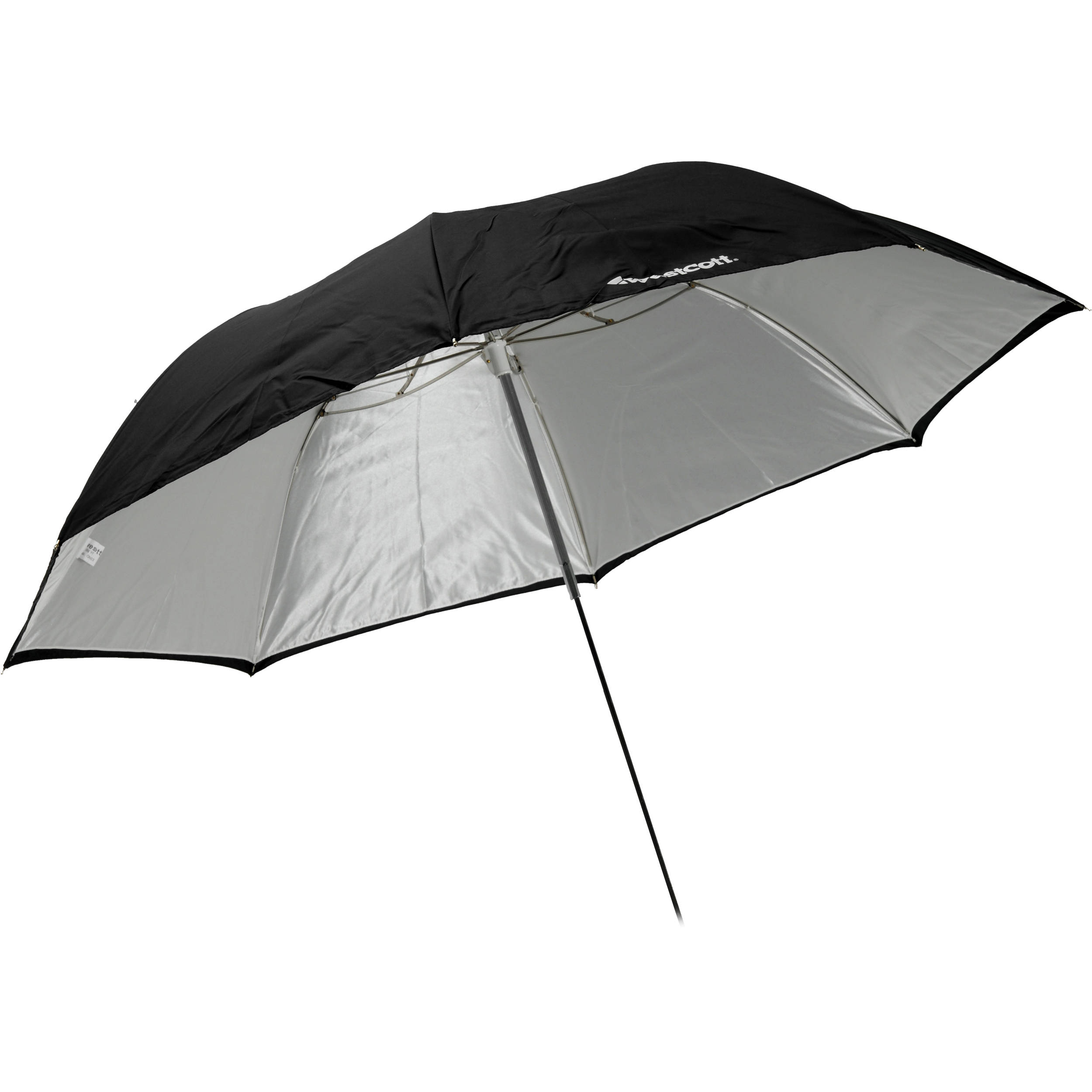 Impact Convertible Umbrella White Satin with Removable Black Backing 60