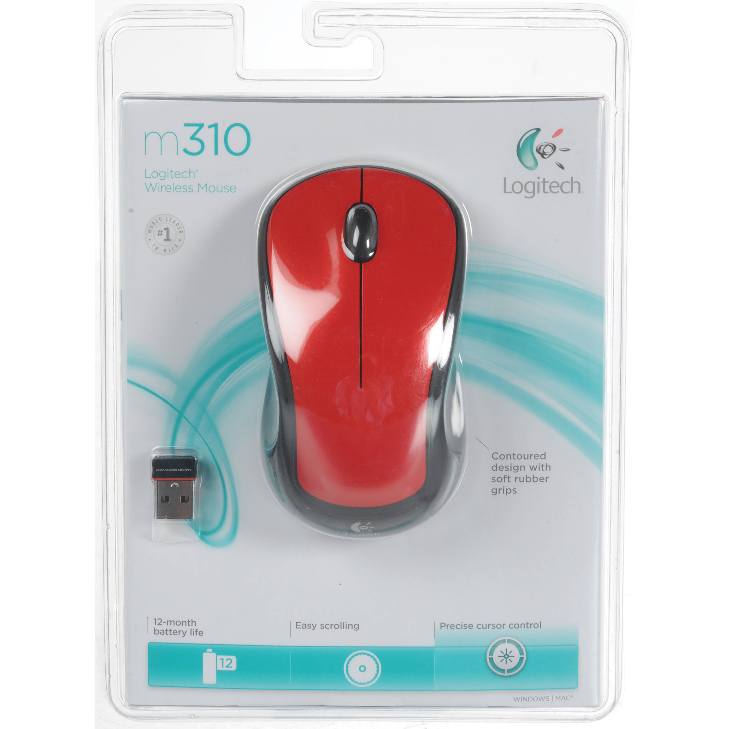 Logitech M310 Wireless Mouse (Glossy Red)
