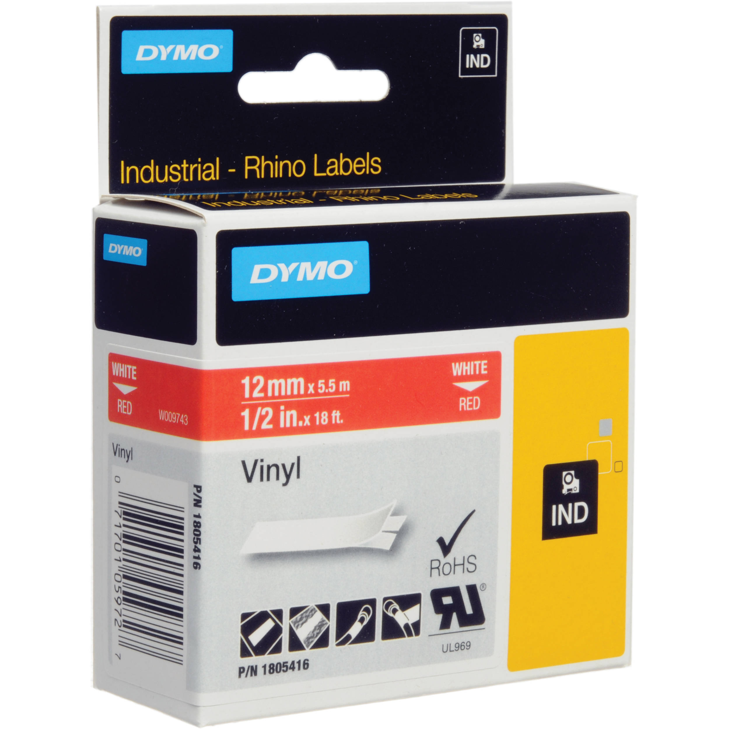 """1805416 1//2/"""" 1 Roll DYMO Industrial Labels White on Red"""