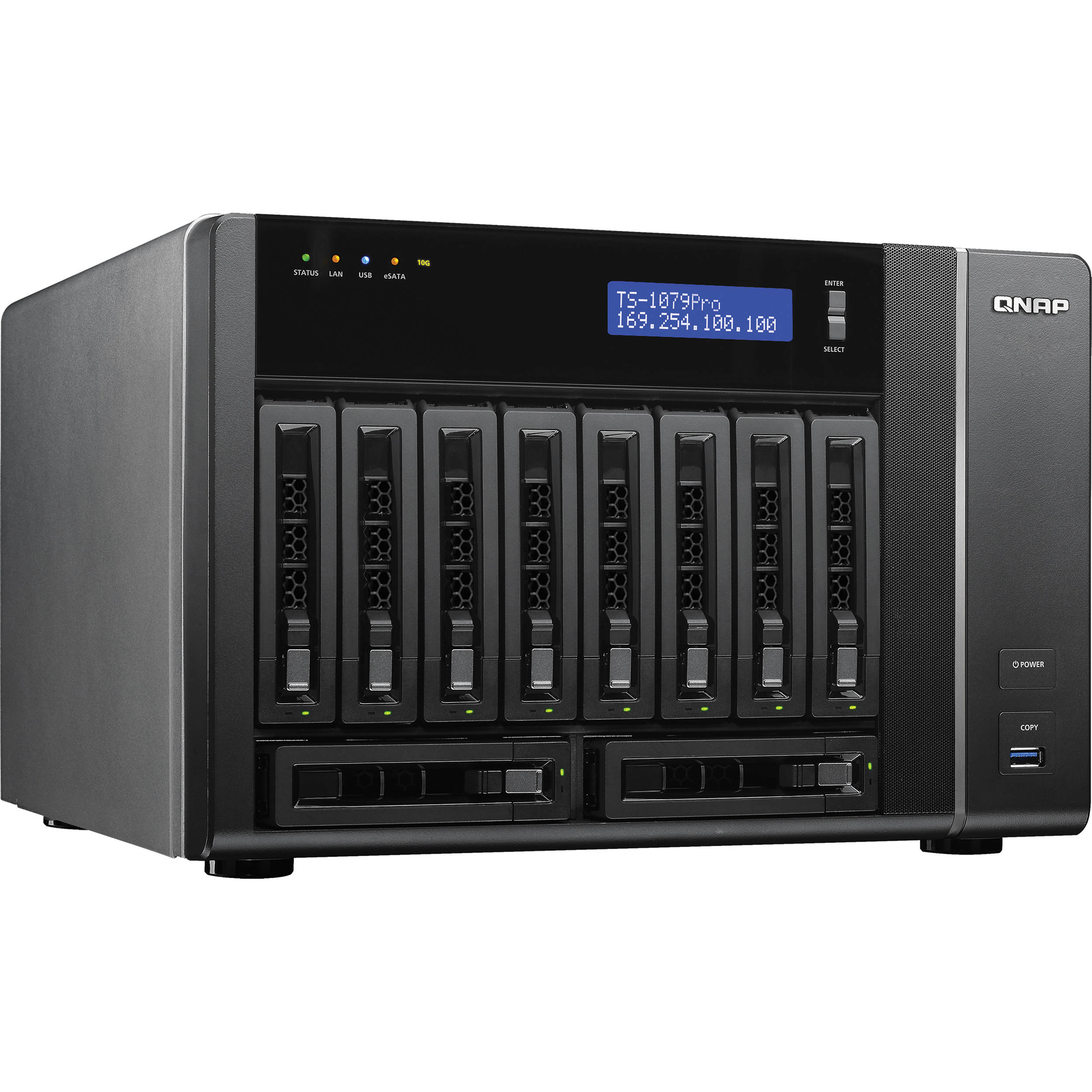 QNAP TS-1079 Pro 10 Bay Turbo NAS Server with 10GbE Network Ready Bundle
