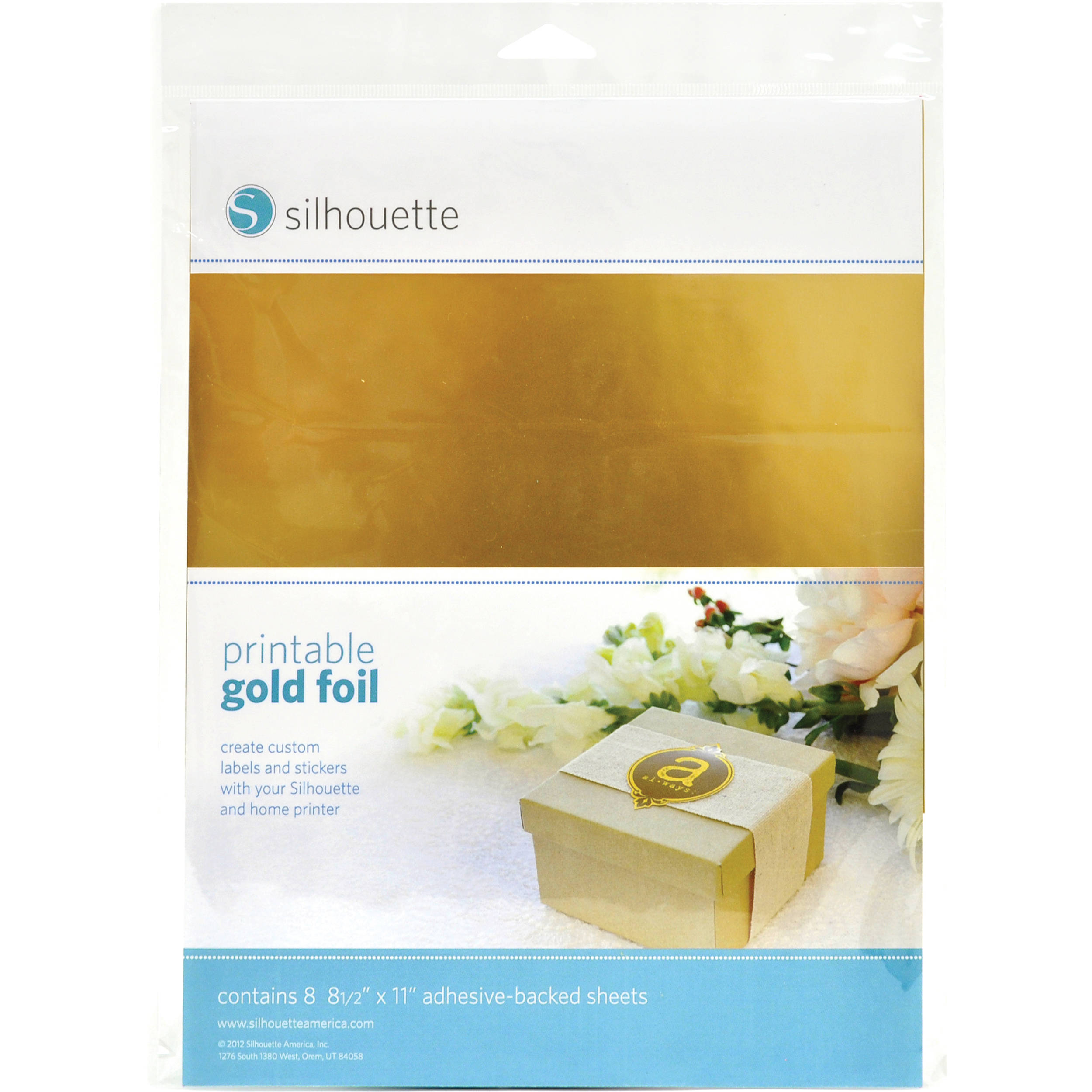 image about Gold Printable Labels named silhouette Printable Adhesive Gold Foil (8.5 x 11\
