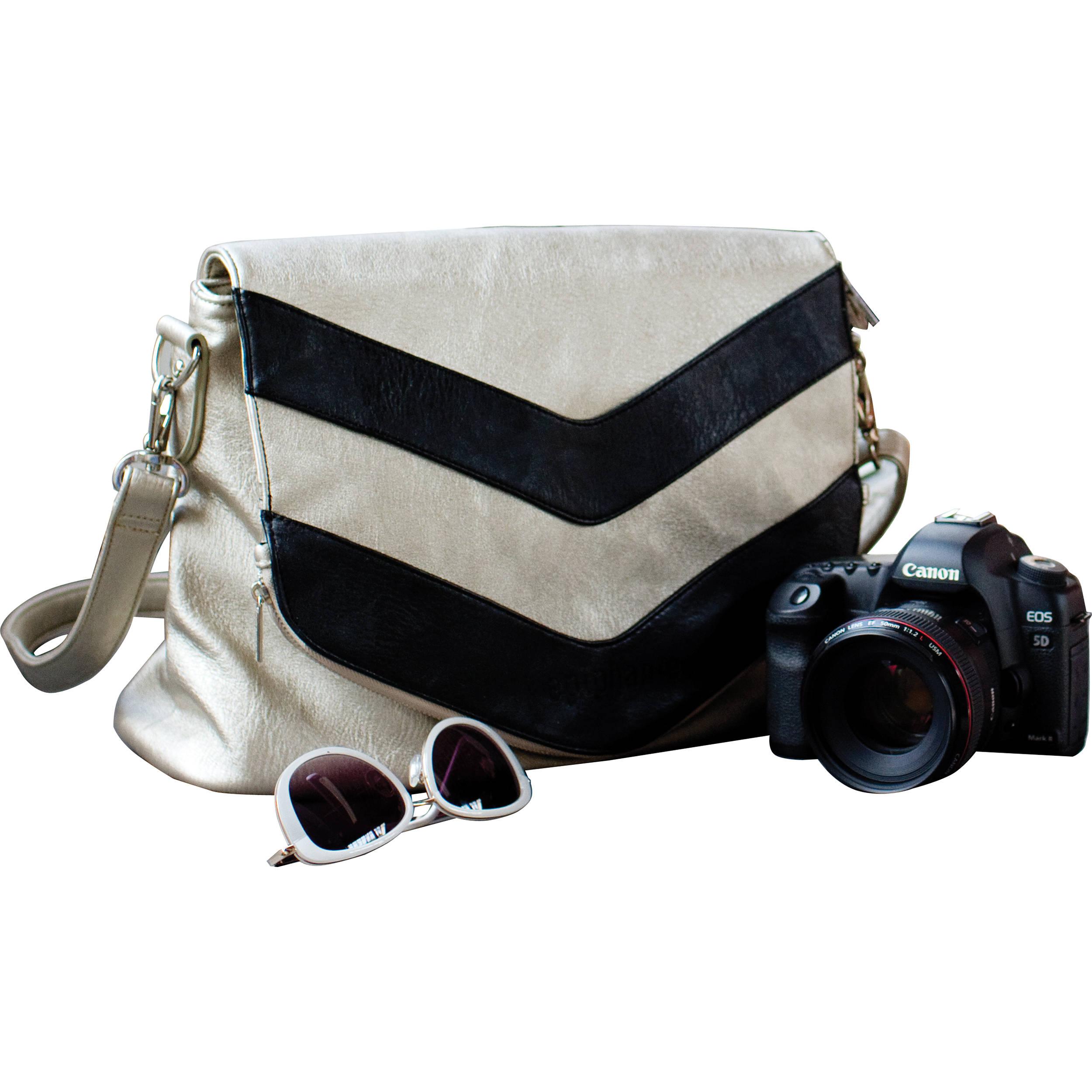 Epiphanie Charlotte Shoulder Bag Metallic Chevron With Gray Interior